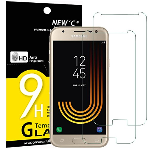 NEW'C PanzerglasFolie Schutzfolie für Samsung Galaxy J3 2017, [2 Stück] Frei von Kratzern Fingabdrücken & Öl, 9H Härte, HD Bildschirmschutzfolie, BildschirmschutzfolieSamsung Galaxy J3 2017