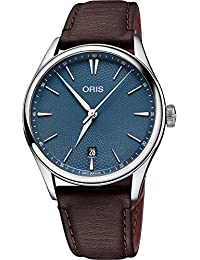 Oris Culture Mens Automatic Date Wrist Watch Analog 40 mm Round Blue Dial with Sapphire Crystal and Brown Leather Band 50m Water Resistant Business Genuine Luxury Watches - for Men
