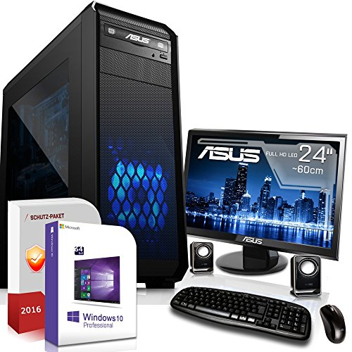 Gaming PC Komplett Set / Multimedia COMPUTER inkl. Windows 10 Pro 64-Bit! - AMD Quad-Core A10-7800 4 x 3,9 GHz - AMD Radeon R7 - 8GB DDR3 RAM - 120GB SSD + 1000GB HDD - ASUS 24-Zoll TFT Monitor - 24-fach DVD Brenner - Lautsprecher - Tastatur + Maus - USB 3.0 - DVI - HDMI - VGA - Gamer PC mit 3 Jahren Garantie!