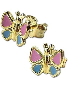 CLEVER SCHMUCK Goldene Ohrstecker Schmetterling 7 x 6 mm pink blau lackiert glänzend 333 GOLD 8 KARAT für Kinder