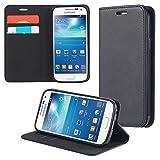 ECENCE Samsung Galaxy S4 Mini I9190 I9195 I9192 Duos Custodia Flip Portafoglio Case Cover Wallet Etui Nero 22020205
