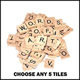 5 Wooden Scrabble Tiles of Your Choice (pick 'n' mix) Pick your own Letters