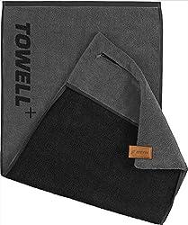 STRYVE Towell Plus Handtuch mit Tasche und Magnetclip, Grau (Platinum Grau) Gym Handtuch TOWELL+, Einheitsgröße