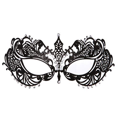 rade Maske Metall Strass Augenmaske für Halloween (schwarz) ()