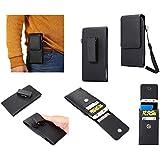 DFV mobile - Magnetic leather Holster Card Holder Case belt Clip Rotary 360º for => GOOPHONE M8 > Black