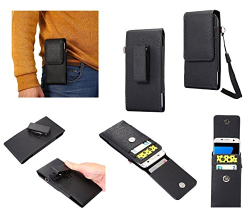DFV mobile - Magnetic Leather Card Holder Case Belt Clip Rotary 360º for => MICROMAX A104 Canvas FIRE 2 (2014) > Black (Micromax Canvas Fire 2)