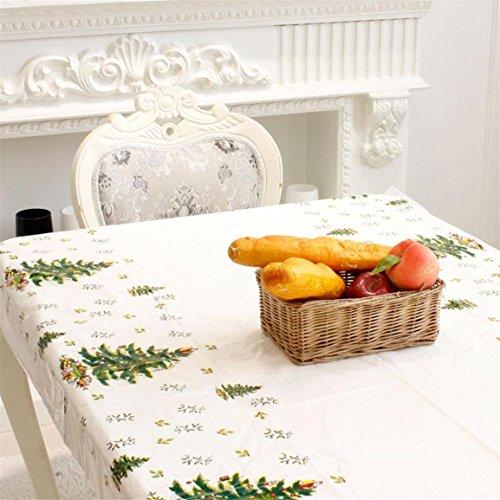Einweg Weihnachten Tischdecke,Moonuy Heißer Verkauf Einweg Frohe Weihnachten Rechteckigen Gedruckt PVC Cartoon Tischdecke für Weihnachten 110 * 180 cm (Weiß)