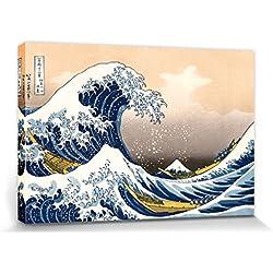 1art1® Katsushika Hokusai - La Gran Ola De Kanagawa Cuadro, Lienzo Montado sobre Bastidor (120 x 80cm)