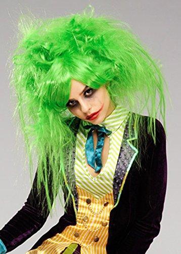 Womens The Joker Style Unordentlich grüne Perücke