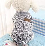 Caliente Ropa de Perros, Chaqueta Abrigo Cálido Suéter de Algodón de Invierno Otoño Suave Para Perros Pequeños Gatos Cachorros Mascotas,Gris XS