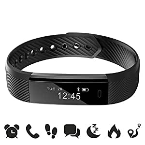 ROGUCI  Smart  Watch Bracelet Montres Sports Tracker Bluetooth with USB Charge for IPhone Smart Phone Noir