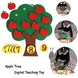 DIY Montessori Material didáctico Juguetes matemáticos Manzano Aprendizaje temprano Educación Juguetes, Apple Tree Match Juguete Educativo Digital Rompecabezas no Tejido Juguete Creativo