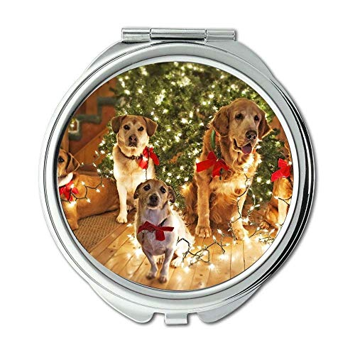 Yanteng Spiegel, Reisespiegel, Funny Dog Weihnachtshund, Taschenspiegel, 1 X 2X Vergrößerung