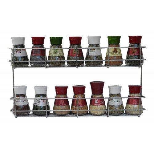 COPA Design 2 Etagen Kräuter- und Gewürzregal | Spice Organizer Wand montieren oder Küche Schrank Aufbewahrung (einfach zu installieren) | Messungen: (bxdxh): 410 x 60 x 210 mm | integrierte Gewürzregal für 2 x 8 Töpfe (Tür-wand-schrank 2)