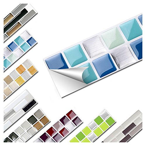Wandaro 7er Set Fliesenaufkleber 25,3 x 3,7 cm Blau Türkis Silber Design 2 I 3D Aufkleber Fliesenfolie Mosaik Bad Küche W3467