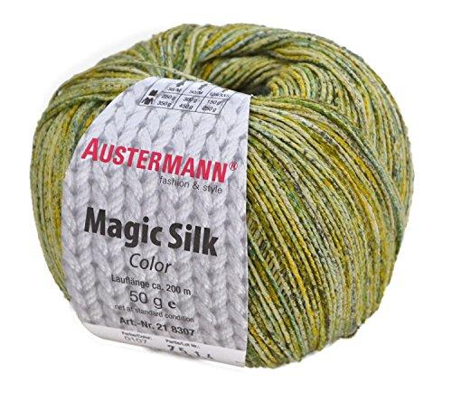 Austermann Magic Silk Color Reine Seide zum Stricken und Häkeln, Fb. 107, 50 Gramm, Sommerwolle, Seidengarn zum Stricken und Häkeln (Silk Häkeln)