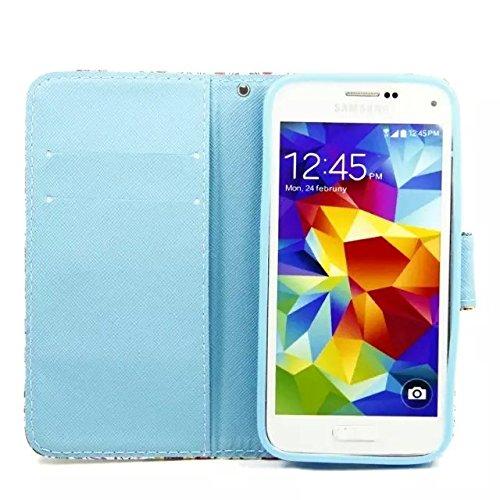 Sunroyal Chic Klapptasche Wallet Case Kunstlederhülle für Samsung Galaxy Grand Prime G530/G530H/G530FZ/G5308W/G5309W/G5306W SM-G530FZ - Cover Flip Tasche Schwarz Design Luxus Magnetic Flip Case mit Ka Pattern 15