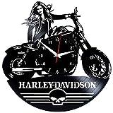 EVEVO Harley Davidson Wanduhr Vinyl Schallplatte Retro-Uhr groß Uhren Style Raum Home Dekorationen Tolles Geschenk Wanduhr Harley Davidson