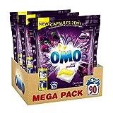 Omo Lessive Capsules 2en1 Noir Orchidée 48 Lavages (Lot de 3x16 Lavages)