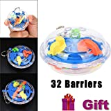 Anglewolf Multiple Barriers Mini Ball Maze Intellect 3d Puzzle Toy Balance Barrier Magic Labyrinth Spherica (32 Barriers)