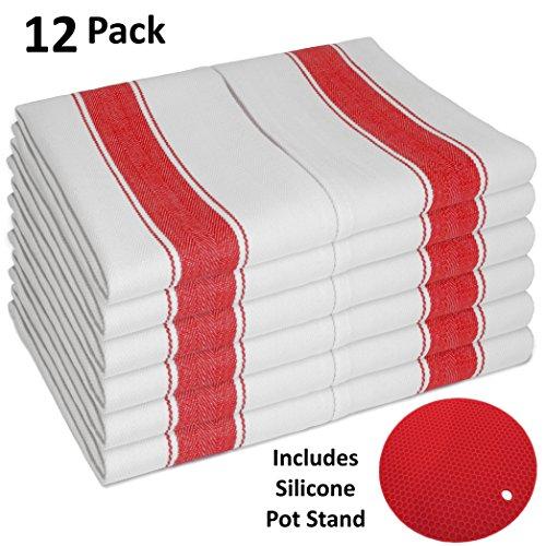 SMARTZ 12er-Set Geschirrtücher supersaugfähig - fusselfrei aus 100% Baumwolle 50 X 70 cm weiß mit roten Streifen und Aufhänger - Vintage Küchenhandtücher Gastronomiequalität Küche Geschirrtuch Creme