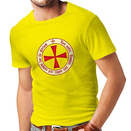(Männer T-Shirt Tempelritter Templer Orden T-Shirt (Knights Templar) für Herren mit Tatzenkreuz Ordo Red (XX-Large Gelb Mehrfarben))