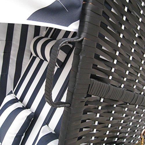 Zweisitzer Strandkorb mit klappbarer Rückenlehne für 2 Personen 118 x 80 x 160 cm (Blau / Weiss) - 3