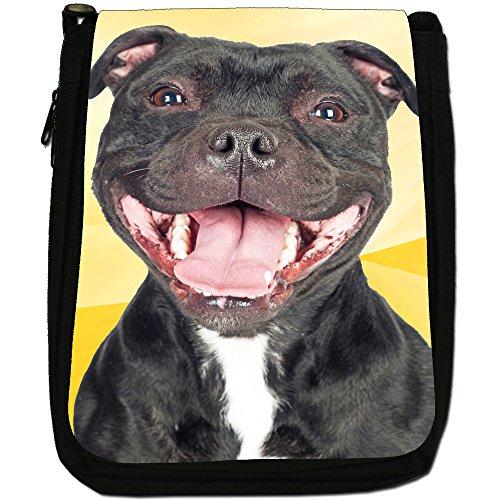 Staffordshire Bull Terrier Staffy personale Cane Medio Nero Borsa In Tela, taglia M Happy Smiling Black Staff