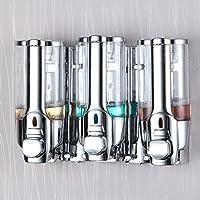 Dispensador de ducha triple para montar en la pared, cromado, 3 x 350 ml
