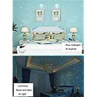 Brilla en la oscuridad - luna y estrellas niños patrón Contacto Papel autoadhesivo papel Peel y Stick - Papel pintado para niños, guardería infantil habitación dormitorio 53 x 300 cm