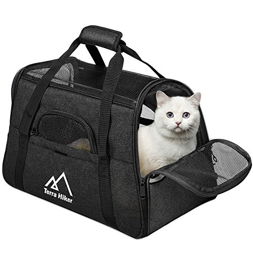 Terra Hiker Small Pet Carrier, Airline Approved Under Seat for Small Dogs and Cats, Travel Bag for Small Animals with Mesh Top and Sides (Black1)