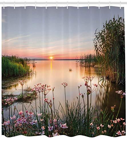 Godfery walsh shower curtain 66x72 pollici tenda per doccia natura,tramonto sul lago chudskoy estonia vista fiori primaverili foto di paesaggio,tessuto arredo bagno set da bagno con ganci,verde rosa