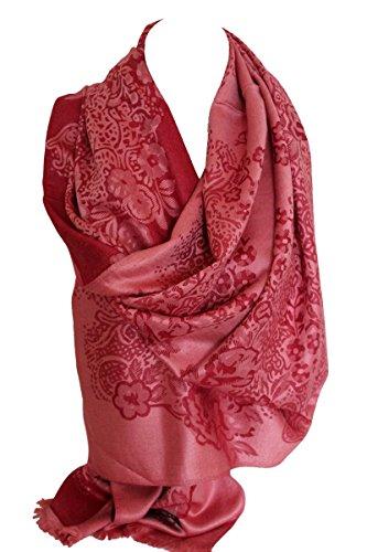 Floral par une ligne deux face réversible douceur Pashmina impression Wrap châle foulard Hijab tête foulards Rouge et rose