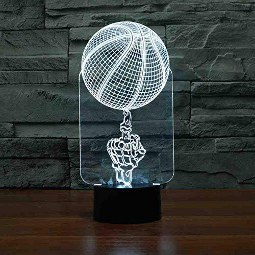 RJGOPL remote Control Hand Top Basketball 3D Lampe 7 Bunte Touch Led Visuelle Lampe Atmosphäre Neuheit Led 3D Licht -