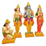 Hand Made Lord Rama Darbar Statue Spiritual idols - Lord Rama Laxman Sita And Hanuman Religious Indian Art Statue - 16x4.5x16 Inches By Papilon