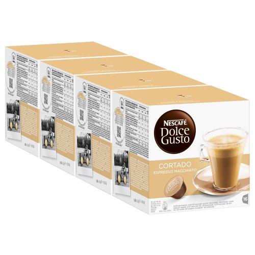 Nescafé Dolce Gusto Cortado Espresso Macchiato, Paquete de 4, 4 x 16 Cápsulas