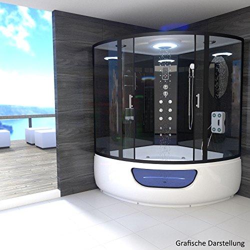 Preisvergleich Produktbild TroniTechnik Dampfdusche Duschtempel Whirlpool Badewanne Komplettdusche Duschkabine Dusche 150x150 schwarz