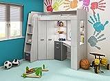 Hochbett/Etagenbett mit Treppe rechts oder links, alles-in-einem-Möbel-Set für Kinder mit Bett, Kleiderschrank, Regal und Schreibtisch Craft-white/Graphite - Left Hand-side Stairs. - 2