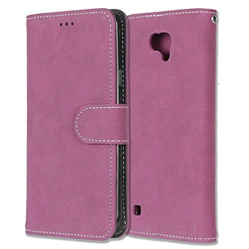 LG X Cam / K580 Hülle, Chreey Matt Leder Tasche Retro Handyhülle Magnet Flip Case mit Kartenfach Geldbörse Schutzhülle Etui [Rose Rot]