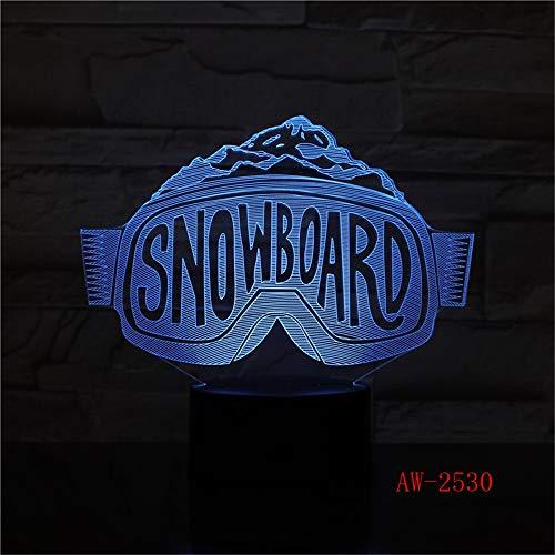 3D LED Nachtlichter bunte Skibrille Modellierung Farbverlauf Tischlampe Schlafzimmer Nacht Dekor Snowboard Schlaf Beleuchtung