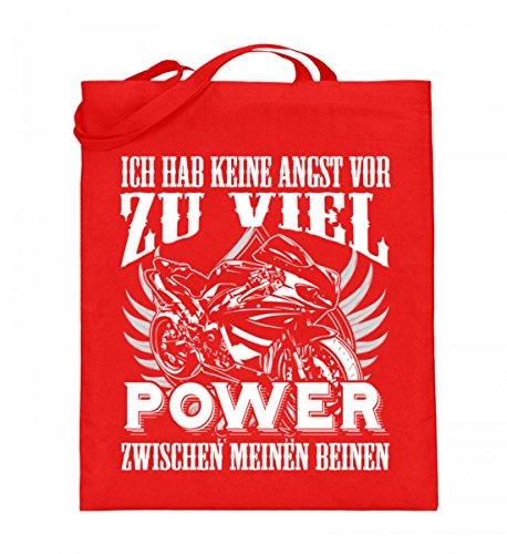 Hochwertiger Jutebeutel (mit langen Henkeln) - Motorrad Shirt · Geschenkidee für Superbike-Fahrer · Biker Aufdruck Motiv/Spruch · verschiedene Farben Rubinrot