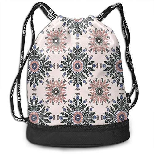 Hmihilu Drawstring Backpacks Daypack Bags,Colorful Ethnic Ornament of Thistle Flowers with Curved Leaves and Stems Print,Adjustable String Closure -