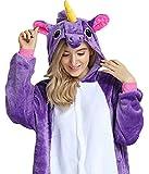 Pigiama Donna Animale Uomo Unicorno Cosplay Animali Costume Camicie da Notte Carnevale Halloween (Pegasus-viola, XL(178-188cm))