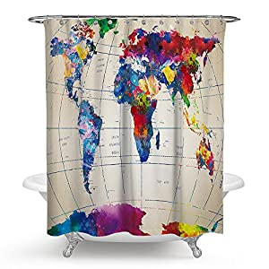 """kisy arte mapa del mundo impermeable baño cortina de ducha de mapa del mundo baño cortina de ducha tamaño estándar 70""""x 70"""" Multi"""