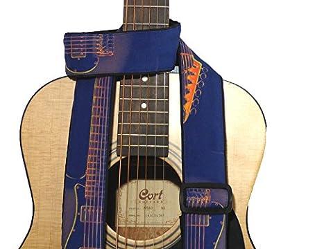 Sangle avec silhouette. Accessoire pour Guitare Bleu. Orange. Pour Guitare Acoustique, Guitare Électrique, basse et d'autres Guitares. Cadeau idéal pour un musicien. code 00310