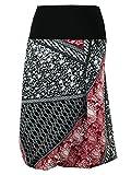 dunkle design Damen Rock A-Linie Ballonrock Jersey Scuba (L 42/44, Weinrot Schwarz 65cm)