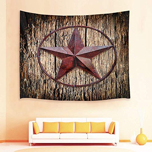 gthytjhv Tapisserie Decor Collection, Texas Star on Shabby Wooden Plank Tapestry,Western Culture Wall Hanging Blanket for Bedroom,Living Room,Dorm Wall Decor,80 X 60 Inch - Western Living Collection