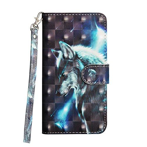 Handytasche Wolf Schutzhülle Handyhülle Silikon Wallet Flip Cover Brieftasche Case mit Handschlaufe Standfunktion Karten Slot & Magnetverschluss für Doogee X5 Max / Doogee X5 Max Pro (5.0 Zoll)