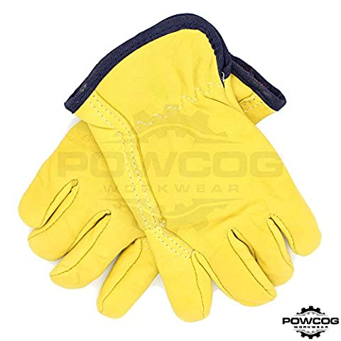 1 Pair of LARGE (Size 9) Premium Fleece Lined Leather Drivers Safety Work Gloves - Perfect for Lorry Drivers by