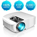 Projector, ELEPHAS [2018 Version] +80% Brightness 1080P LCD Video Projector Support HDMI VGA AV USB Micro SD Ideal For Home Theater Entertainment Party And Games, White